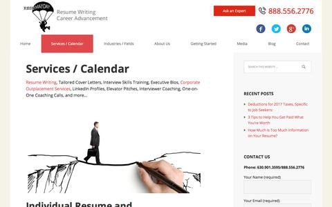 Screenshot of Services Page resumayday.com - Resume Writing, Career Coaching, Outplacement & Job Tools - captured Sept. 20, 2018