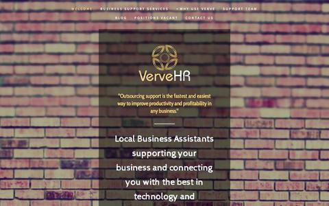 Screenshot of Home Page vervehr.com.au - Verve Business Support - captured Oct. 1, 2014