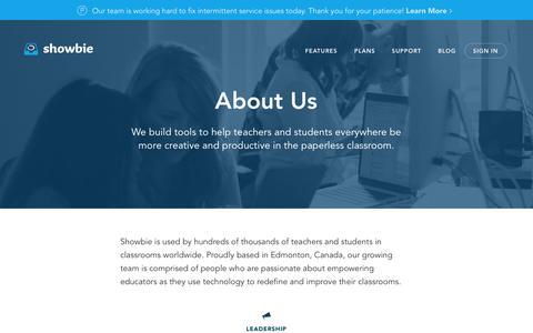 Screenshot of About Page showbie.com - About Us - Showbie - captured Sept. 24, 2015