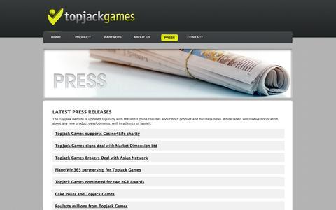 Screenshot of Press Page topjackgames.com - Press | Topjack Games - captured Oct. 9, 2014