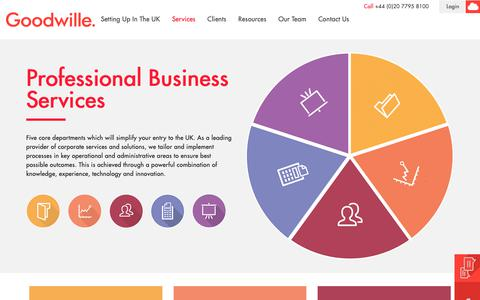 Screenshot of Services Page goodwille.com - Outsourced Business Services | London & Warwick | Goodwille - captured Sept. 29, 2018
