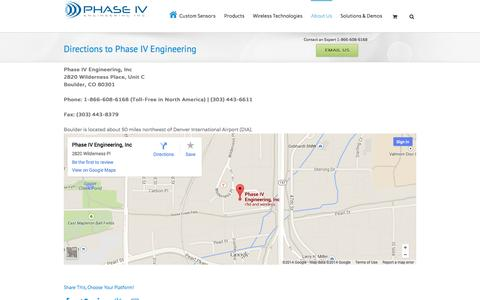 Screenshot of Maps & Directions Page phaseivengr.com - Directions to Phase IV Engineering - Phase IV Engineering Inc. - captured Oct. 2, 2014