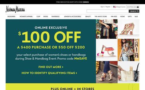 Screenshot of neimanmarcus.com - Shoe And Handbag Event at Neiman Marcus - captured April 2, 2017