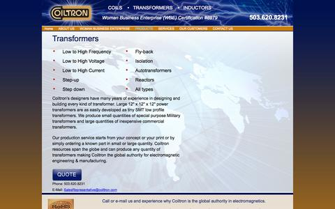 Screenshot of Products Page coiltron.com - Transformers - captured Oct. 2, 2014