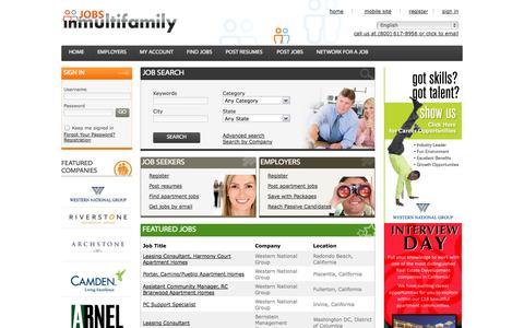 Screenshot of Home Page jobsinmultifamily.com - Apartment Jobs | Apartment Career Listings - captured Sept. 30, 2014