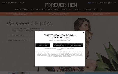 Screenshot of Home Page forevernew.com.au - Forever New   Shop Womens Fashion, Clothing & Accessories   Forever New - captured Aug. 31, 2016