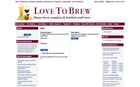 Screenshot of Login Page lovetobrew.co.uk - Love To Brew - Home brew supplies & bottled craft beer - Bristol - captured Dec. 13, 2015