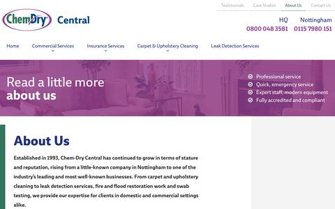 Screenshot of About Page chemdrycentral.com - About Us | Chem-Dry Central - captured July 17, 2018