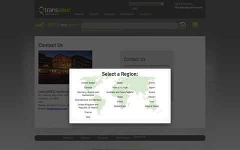 Screenshot of Contact Page transomic.com - Contact Us - captured Sept. 12, 2014