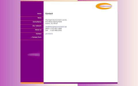 Screenshot of Contact Page therightenvironment.net - Welcome, you have arrived at The Right Environment Ltd.Co. | Consultancy | Coaching | and more - captured Sept. 30, 2014