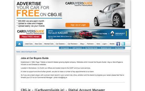 Screenshot of Jobs Page cbg.ie - Car Buyers Guide - Jobs - captured Jan. 19, 2016