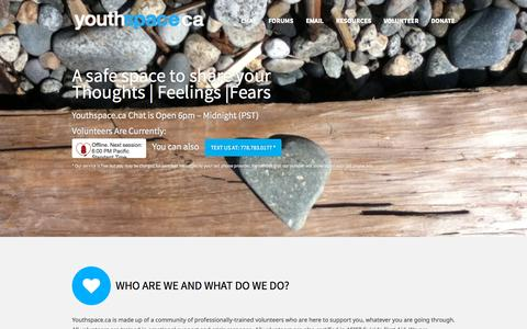 Screenshot of Home Page youthspace.ca - Youthspace.ca | Emotional Support and Crisis Response - captured Sept. 30, 2015
