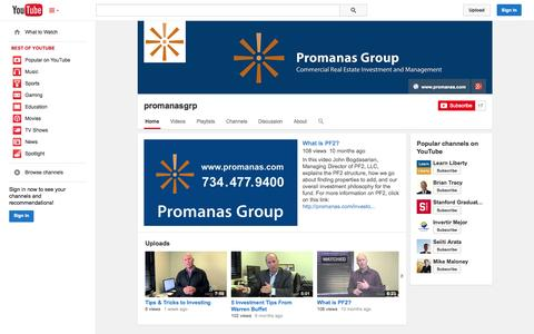 Screenshot of YouTube Page youtube.com - promanasgrp  - YouTube - captured Oct. 22, 2014