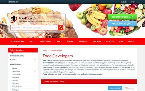 Screenshot of Developers Page food1.com - Food Developers - Food1.com - captured Jan. 28, 2017