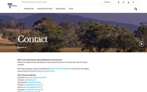 Screenshot of Contact Page visitvictoria.com - Contact us, Melbourne, Victoria, Australia - captured Oct. 19, 2018