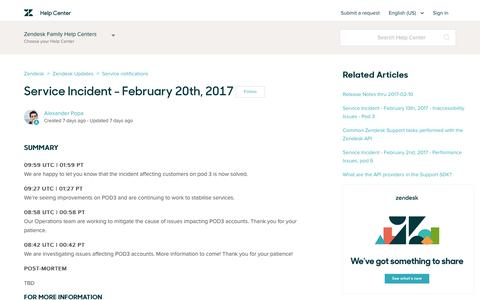 Screenshot of Support Page zendesk.com - Service Incident - February 20th, 2017 – Zendesk - captured Feb. 27, 2017