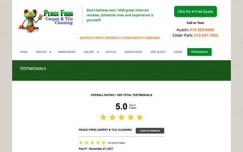 Screenshot of Testimonials Page peacefrogcarpetcleaning.com - Testimonials | Peace Frog Carpet & Tile Cleaning - captured Nov. 21, 2017