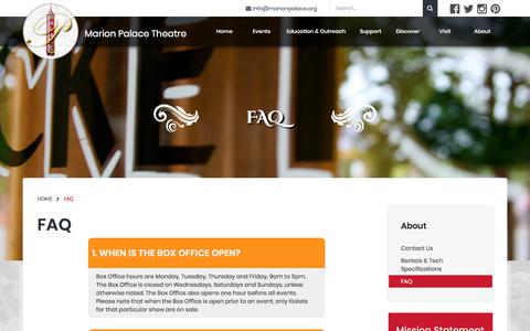 Screenshot of FAQ Page marionpalace.org - Marion Palace Theatre » FAQ - captured Sept. 30, 2017