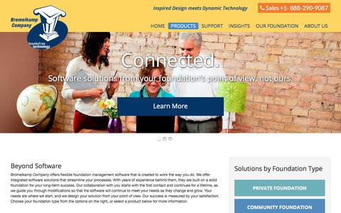 Screenshot of Products Page bromelkamp.com - Our Products   Grant Management Solutions by Bromelkamp - captured Oct. 11, 2017