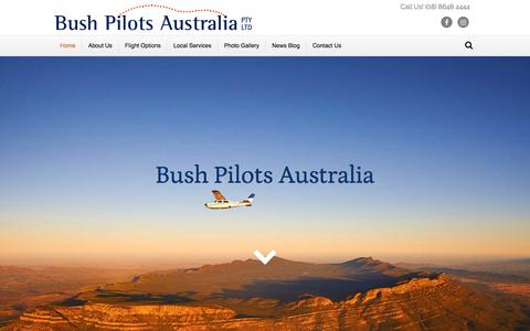 Screenshot of Home Page bushpilots.com.au - Wilpena Pound, Heysen Range, Lake Eyre & Birdsville flights from Hawker - captured Aug. 4, 2018