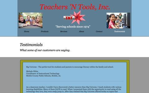 Screenshot of Testimonials Page teachersntools.com - Teachers 'N Tools Testemonials - captured Dec. 2, 2016