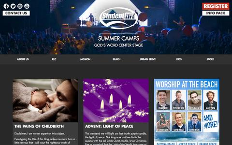 Screenshot of Home Page studentlife.com - Student Life Christian Summer Camps - captured Feb. 25, 2016
