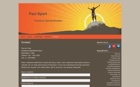 Screenshot of Contact Page paulsport.nl - Paul Sport - Neem contact op - captured Sept. 29, 2014