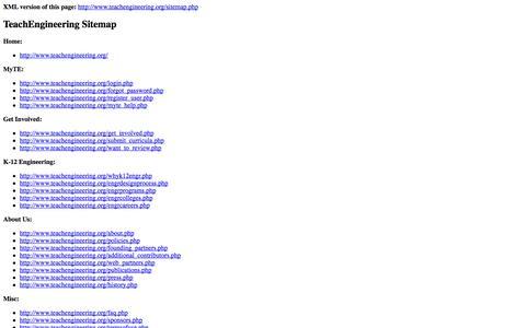 Screenshot of Site Map Page teachengineering.org - TE Sitemap - www.TeachEngineering.org - captured Sept. 23, 2014