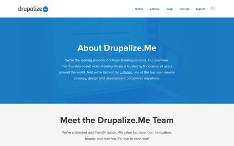 Screenshot of About Page drupalize.me - About | Drupalize.Me - captured Sept. 24, 2014