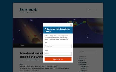 Screenshot of Blog zabec.net - Žabja reganja | Pol-uradni blog Zabec.net - captured Feb. 9, 2016