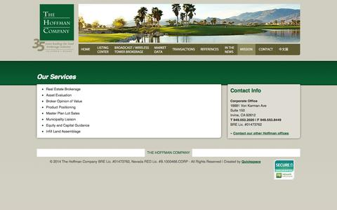 Screenshot of Services Page hoffmanland.com - Our Services | The Hoffman Company - captured Oct. 6, 2014