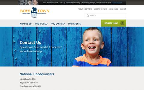 Screenshot of Contact Page boystown.org - Boys Town: Saving Children, Healing Families, Parenting Tips |  	Contact Us - captured Aug. 3, 2018