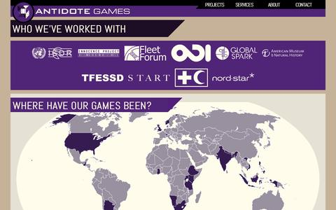 Screenshot of About Page playistheantidote.com - About Antidote Games - captured Oct. 4, 2014
