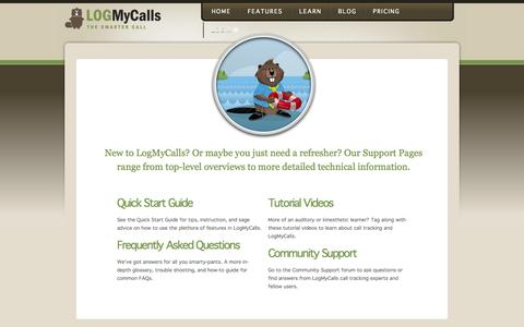 Screenshot of Support Page logmycalls.com - Call Tracking Support - About Call Tracking   LogMyCalls - captured Sept. 13, 2014