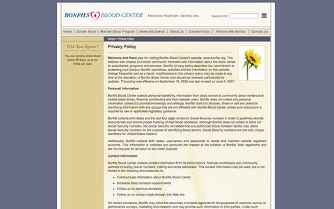 Screenshot of Privacy Page bonfils.org - Privacy Policy - Bonfils Blood Center - captured Nov. 4, 2014