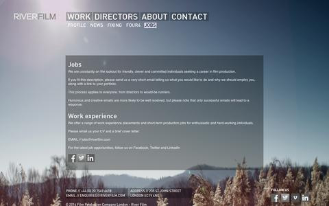 Screenshot of Jobs Page riverfilm.com - Jobs - Film Production Company London - River Film - captured Oct. 7, 2014