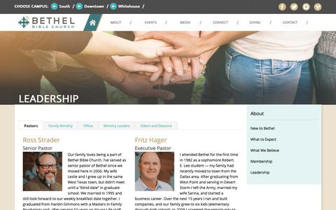 Screenshot of Team Page bethelbible.com - Leadership | Bethel Bible Church - captured Oct. 5, 2018