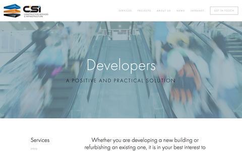 Screenshot of Developers Page csinfrastructure.net - Developers — Construction Services & Infrastructure - captured Nov. 23, 2016