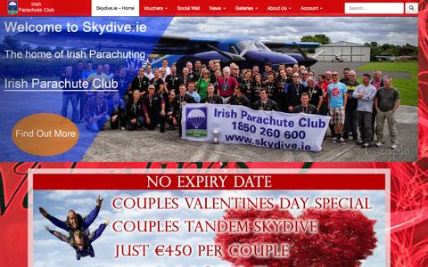 Screenshot of Home Page skydive.ie - Skydive.ie | Ireland's Largest & Oldest Skydiving Provider | Irish Parachute Club - captured Feb. 15, 2016