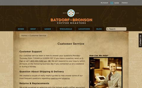 Screenshot of Support Page batdorfcoffee.com - Customer Service - captured Oct. 5, 2014