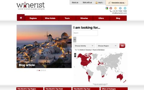 Screenshot of Login Page winerist.com - Winerist | Wine Tours, Food Tours and Hotels -  Winerist - captured Sept. 17, 2014