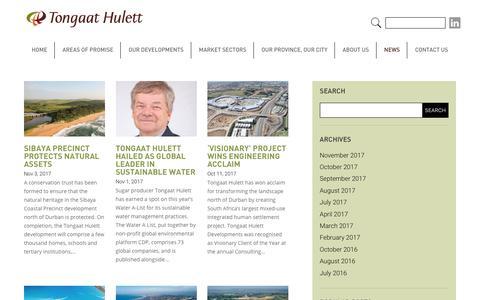 Screenshot of Press Page thdev.co.za - News - Tongaat Hulett - captured Nov. 8, 2017