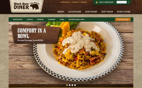 Screenshot of Menu Page blackbeardiner.com - Menu | Black Bear Diner - captured Jan. 31, 2016