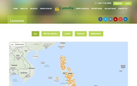Screenshot of Locations Page camella.com.ph - Locations   Camella - captured Dec. 7, 2015
