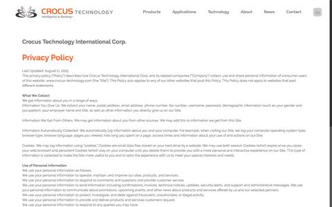 Screenshot of Privacy Page crocus-technology.com - Privacy Policy | Crocus Technology | Magnetic Sensors - captured May 9, 2017