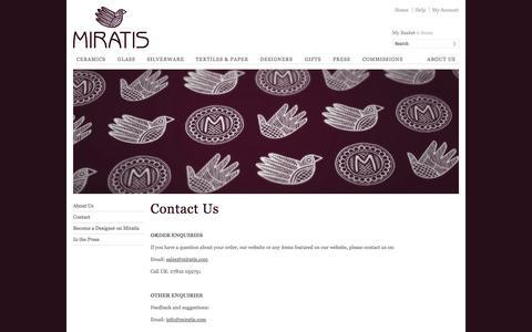 Screenshot of Contact Page miratis.com - Contact | Miratis - captured Oct. 26, 2014