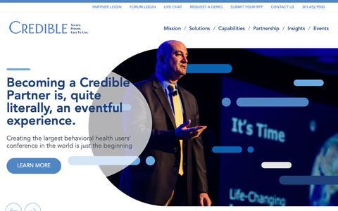 Screenshot of Home Page credibleinc.com - Credible – Behavioral Health Software - captured Feb. 8, 2019