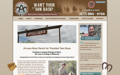 Screenshot of Home Page arivacaboysranch.com - Boarding School for Troubled Teens | Arivaca Boys Ranch for Troubled Youth - captured Dec. 26, 2015
