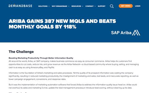 Screenshot of Case Studies Page demandbase.com - Ariba Gains 387 New MQLs and Beats Monthly Goals by 118% | Account-Based Marketing – Demandbase - captured Nov. 6, 2019