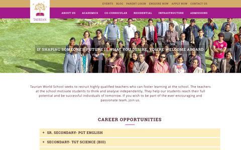 Screenshot of Jobs Page tws.edu.in - Taurian World School     CAREERS - captured Feb. 24, 2016